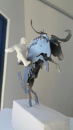 Rudolf Bitzer : Wild, wild ride. Polyurethane & mild steel Small Sculptures, Lion Sculpture, Statue, Steel, Art, Art Background, Kunst, Performing Arts, Steel Grades