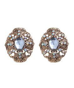 Gold (Gold) Gold Ornate Gemstone Stud Earrings   273224793   New Look