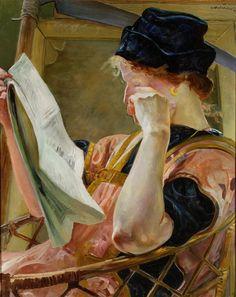 Jacek Malczewski (Polish painter) 1854 - 1929 Model, 1907 oil on cardboard x cm. x 23 in. Reading Art, Woman Reading, Reading Books, Art Database, Fine Art, Figurative Art, Female Art, Art Boards, Illustration