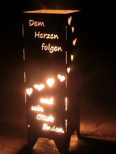 Feuertonne aus Metall mit Spruch und Herz, Dekoration für den Garten / fire bin with quote and hearts as garden decoration made by WoodMetalWorks via DaWanda.com