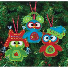 Whimsical Owl Ornaments, Felt Applique_72-08269
