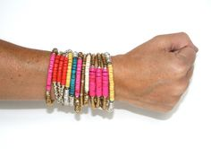Gold and Neon Pink Bracelet by ShallaWistaStudio on Etsy
