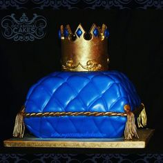 Pillow cake carved from squares. Crown is modeling chocolate. All othe decoration is LMF. Pillow Cakes, Pillows, Blue Suit Wedding, Crown Cake, Modeling Chocolate, Cakes For Boys, Edible Art, Cake Art, Birthday Cake