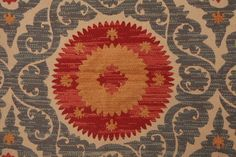 BEAUTIFUL HVY WVN GEOMETRIC FLORAL SUZANI TAPESTRY UPHOLSTERY BTY