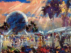 Spaceship Earth, Future World, EPCOT Center, Walt Disney World - Herb Ryman
