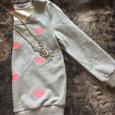 NWT Gray pink lips sweater Brand new with tags never worn. Perfect for fall. Comfy and so cute. Sleeves are 3/4 long. True to size. Necklace sold in separate listing. ✋no PP ✋no Trades Red Saks Fifth Avenue Sweaters