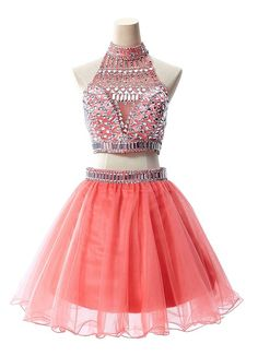 Two Pieces Organza Prom Dresses for Juniors 2015 Short