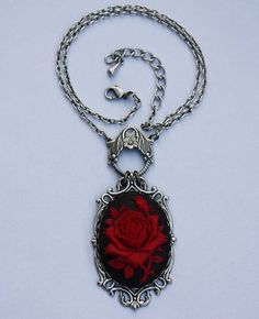 Ruby rose victorian cameo gothic necklace by pinkabsinthe on Etsy, $22.00