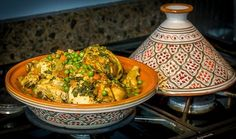 Moroccan Chicken Tagine recipe: 5 star easy North African dish cooked in a clay vessel or slow cooker. A nice ethnic alternative to chicken stew.