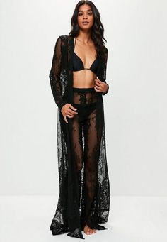 Black maxi kimono featuring sheer lace fabric, open front and long sleeve. regular fit Polyester Approx length: (based on a UK size 8 sample) Lisa-Marie wears a UK size 8 / EU size 36 / US size 4 and her height is Lace Kimono Outfit, Black Lace Kimono, Lace Maxi, Sheer Lace Dress, Boudior Outfits, Lingerie Outfits, Lingerie Set, Beach Kimono, Beachwear For Women