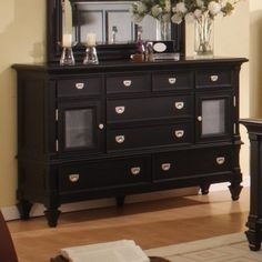 Shop for the Holland House Summer Breeze Dresser & Mirror at Royal Furniture - Your Memphis, Nashville, Jackson, Birmingham Furniture & Mattress Store Bedroom Dresser Sets, Bedroom Sets, Royal Furniture, Mirrored Furniture, Furniture Styles, Furniture Plans, Morris Homes, Holland House, Black Doors