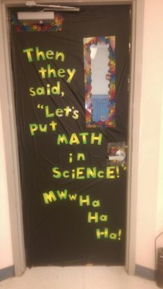 Chemistry room door decoration for the start of the year. Chemistry Bulletin Boards, Chemistry Classroom, High School Chemistry, Teaching Chemistry, Classroom Door, Classroom Posters, Middle School Science, Classroom Themes, Future Classroom