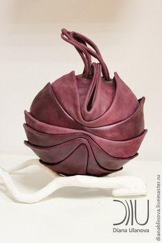 """Сумка кожаная """"Кокон-мини"""" - бордовый,однотонный,сумка кожаная,сумка из натуральной кожи"""