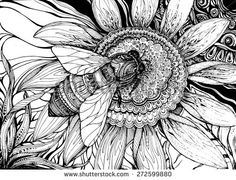 Beautiful Vector Background With Graphic Bee On Flower With A Lot Of Details - 272599880 : Shutterstock