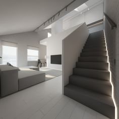 A side-lit staircase remains simple in grey and white, referencing the living room. Side-lighting forms a shape of its own, in a zigzag pattern.