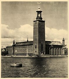 1943 Stockholm Sweden Stadshuset City Hall Kungsholmen - ORIGINAL EUR2