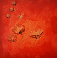 """Acrylbild """"Mohnblumenbild"""" - Dieses Bild hängt in unserem Wohnzimmer. - Größe: 50x50 cm - www.elfensteins-acrylmalerei.de"""