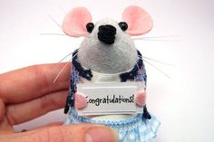 Congratulations Mouse Custom Personalised message Mouse - Choose your own sign - cute Artisan felt mice rat ornament gift note animal – Paige the messenger mouse by The House of Mouse #mouse #mice #rat #rodent #Cute #animal #adorable #ornament #collectable #etsy #etsyseller #etsystore #etsyshop #handmade #artisan #art  #funny #humour #fun #thehouseofmouse #houseofmouse #custom #custommessage #customsign #personalised #personalisedmessage #message #sign #congratulations #congrats