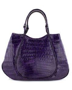 Nancy Gonzalez Purple Croc Rounded Frame Handbag