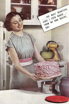 I love how that cake looks. Im a sucker for pictures of vintage foods.so strange :D Vintage Love, Retro Vintage, Vintage Kitchen, Retro Ads, Vintage Housewife, Vintage Baking, Decoupage, Old Ads, Photoshop