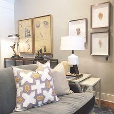 Alice Lane Home Collection | Gray velvet London sofa on the showroom floor.