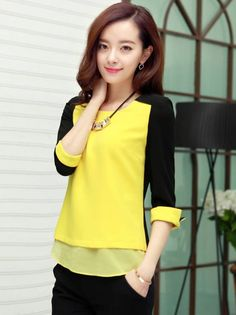 Korean Style Slim With Necklace Color Block Chiffon Blouse