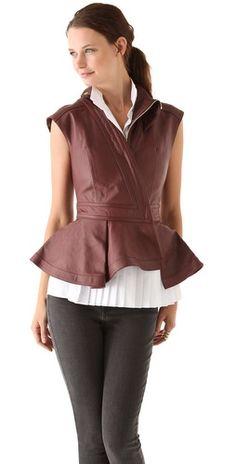 Hakaan Leather Peplum Vest