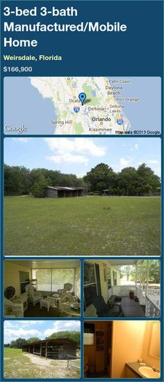 3-bed 3-bath Manufactured/Mobile Home in Weirsdale, Florida ►$166,900 #PropertyForSale #RealEstate #Florida http://florida-magic.com/properties/10004-manufactured-mobile-home-for-sale-in-weirsdale-florida-with-3-bedroom-3-bathroom