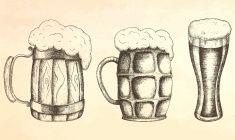 Hand drawn mug of beer. vector art illustration