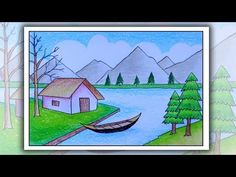 How to draw scenery of mountain step by step Nature Drawing For Kids, Basic Drawing For Kids, Easy Scenery Drawing, Easy Drawing Steps, Easy Drawings For Kids, Drawing For Beginners, Oil Pastel Drawings Easy, Cool Art Drawings, Village Drawing