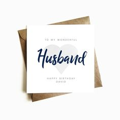 Personalised Husband Birthday Card - Individually Handmade in the U. Unique Birthday Cards, Personalized Birthday Cards, Birthday Presents, Happy Anniversary, Anniversary Cards, Husband Birthday, Happy Birthday, Kraft Envelopes, Our Wedding Day