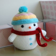 I am soooo learning how to crochet so I can buy the pattern for this cute little snow man and make it!