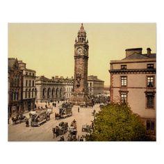 Antique 1890s Belfast Street scene Albert Memorial photo posters