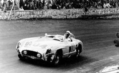 Stirling Moss (pictured) and his teammate, Peter Collins, won the 1955 Targa Florio in the Mercedes-Benz 300SLR, securing the World Championship for Sports Cars that year. (Photo: Daimler Benz Archives)