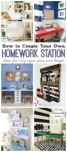 Station Ideas Lots of fun ideas for creating a homework station with any sized space and budget! // Lots of fun ideas for creating a homework station with any sized space and budget! Kids Homework Station, Homework Area, Homework Center, Kids Study, Study Space, Kid Spaces, Small Spaces, My New Room, Home Organization