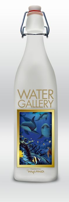 Original mock-up Water Gallery glass water bottle with thicker gold frame. #mywatergallery #reusableglassbottle #glasswaterbottle
