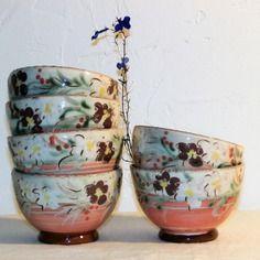 Par Méli-mélo de terre : Lot de 6 bols à thé roses fleurs blanches violettes