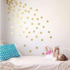 polka dots going around the corner of a frame on the wall - Google Search