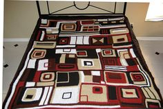 "Modern ""Earth and City""  Geometric Crocheted Afghan in Browns, Tan, Black, White and Deep Red"