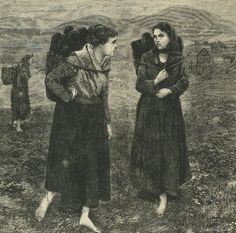 Two Irish Women Carrying Peat.  Printed in  Frank Leslie's Popular Monthly, 1880.  From the collection of Maggie Land Blanck.