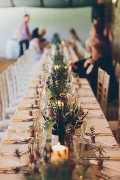 ideas for small weddings, small wedding ceremonies, & small wedding receptions here at VENUE Wedding Reception Ideas, Small Wedding Receptions, Wedding Table, Wedding Ceremony, Wedding Venues, Herb Wedding Centerpieces, Outdoor Wedding Decorations, Potted Plant Centerpieces, Small Country Weddings
