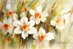 And...A New Watercolor - Daffodils / E...Uma Nova Aquarela - Narcisos.