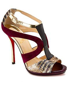 "Christian Louboutin ""Oslet"" 120mm Suede & Patent Open-Toe Pump"