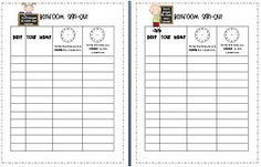 Second Grade Sensation: Bathroom Sign Out Sheets