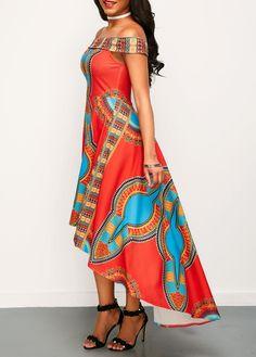 Off the Shoulder High Waist Dashiki Dress on sale only US$32.06 now, buy cheap Off the Shoulder High Waist Dashiki Dress at liligal.com