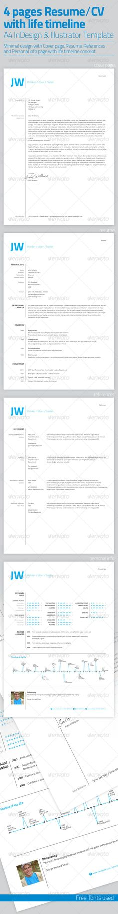 Resume Template | 4 Pages with Life Timeline  - GraphicRiver Item for Sale
