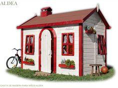 Casita de madera infantil ALDEA. 3 grandes ventanas todas practicables con apertura y cierre regulable Puerta redondeada con marco y cierre de madera | 3 maceteros y chimenea decorativ