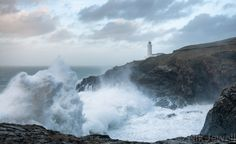 Image of huge wave and lighthouse at Trevose Head Trevose Head, Huge Waves, Hercules, Niagara Falls, Lighthouse, Island, Gallery, Nature, Naturaleza
