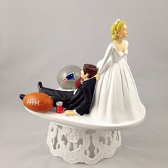 Amazon.com: Funny Wedding Cake Topper New England Patriots Football Themed Can Be Personalized with Your Favorite NFL Team: Kitchen & Dining