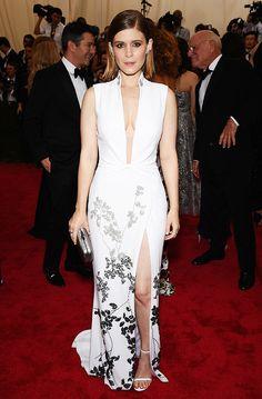 Kate Mara in a plunging Diane von Furstenberg floral print gown at the 2015 Met Gala